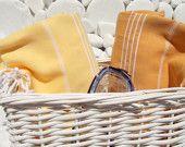Set of Quality Hand Woven Turkish Cotton by Turkishtowel Turkish Bath Towels, Pool Spa, Beach Pool, Yellow, Orange, Hand Weaving, Basket, Stripes, Traditional