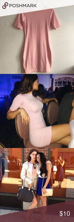Light pink bodycon dress I wore it a few times it's a little thin and I had it Tailored for me❤️ Dresses Mini