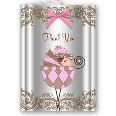 Pink Brown Lace Baby Shower Thank You Cards by The_Thank_You_Store