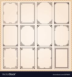 Find Decorative Vintage Frames Borders Set Vector stock images in HD and millions of other royalty-free stock photos, illustrations and vectors in the Shutterstock collection. Thousands of new, high-quality pictures added every day. Border Templates, Vector Border, Vintage Frames, Decorative Borders, Decorative Frames, Vintage Banner, Borders And Frames, Vector Photo, Border Design
