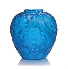 PERRUCHES VASE, NO. 876  designed 1919, electric blue and white stained intaglio R. LALIQUE and moulded R. LALIQUE 25.5 cm. h