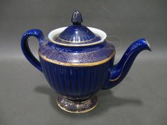 shopgoodwill.com: (1) Dark Blue and Gold Teapot