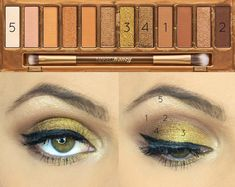 New pictorial with the Naked Honey Palette! Honey is such a bright, gorgeous gold shadow! Droopy Eye Makeup, Eye Makeup Steps, Simple Eye Makeup, Dark Makeup, No Eyeliner Makeup, Urban Decay Eyeshadow, Eyeshadow Palette, Ulta Eyeshadow, Smokey Eyeshadow
