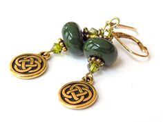 Green Earrings, Lampwork Beads, Swarovski Crystals, Celtic Knot Dangle, Gold, St. Patrick's Day, Short Earrings, Handcrafted Earrings by BlondePeachJewelry on Etsy