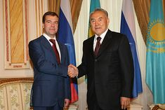 Medvedev and Nazarbayev - Nursultan Nazarbayev - Wikipedia Postmodernism, Cuba, Israel, Suit Jacket, Fashion, Moda, Fashion Styles, Fashion Illustrations, Fashion Models