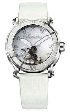 Chopard Happy Sport Diamond Mickey Mouse Mother Of Pearl Dial White Satin Ladies Watch Mickey Mouse Jewelry, Disney Fine Jewelry, Mickey Mouse Watch, Minnie Mouse, Chopard, Beautiful Watches, Fashion Watches, Pearls, White Watches