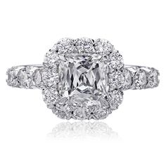 Only interested in the x style prong setting, not the ring Christopher Designs engagement ring with Crisscut Cushion diamond center surrounded by round diamonds set in White Gold. Cushion Cut Engagement Ring, Morganite Engagement, Designer Engagement Rings, Diamond Engagement Rings, Halo Engagement, Christopher Designs, Diamond Wedding Bands, Wedding Rings, Bridal Rings