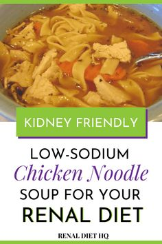 Renal Diet Recipes - Easy Chicken Noodle Soup - Low Sodium and Kidney Diet Friendly Diet Dinner Recipes, Diet Soup Recipes, Diet Meals, Lunch Recipes, Chicken Recipes, Low Potassium Recipes, Low Sodium Recipes, Low Sodium Snacks, Low Salt Recipes