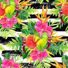 Aquarela sem costura fundo com flores tropicais. - ilustração de acervo…