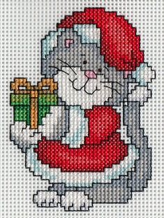 I stayed up probably too late finishing the back stitching on the first of the C. - I stayed up probably too late finishing the back stitching on the first of the Christmas kitty orna - Cat Cross Stitches, Counted Cross Stitch Patterns, Cross Stitch Designs, Cross Stitching, Cross Stitch Embroidery, Hand Embroidery, Cross Stitch Christmas Ornaments, Xmas Cross Stitch, Cross Stitch Cards