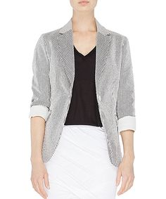 Take a look at this Navy Stripe Linen-Blend Elsa Blazer on zulily today!