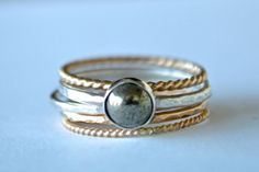 Stacking Rings in 14k Yellow and Rose Gold by MelbourneStyle