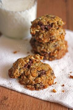 Chocolate Chip Chia Oat Cookies **delicious!  Not too sweet, just sweet enough and delicious enough to satisfy every want for a chocolate chip cookie! Not that I have anything against eggs, but these are also vegan. They hold together well and chia seeds give nice texture**