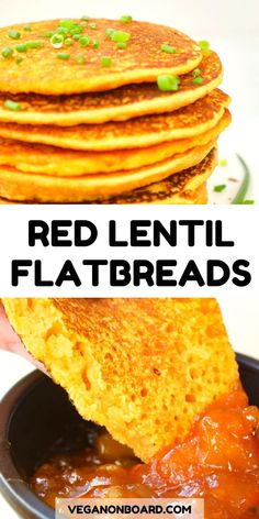 These simple lentil flatbreads have just four ingredients. All you need is split red lentils, water, salt and spices. No baking powder, yeast or flour needed. They're super filling and protein rich, a High Protein Vegan Recipes, Vegan Recipes Easy, Vegetarian Recipes, Gluten Free Recipes Lentils, Red Lentil Recipes Easy, Gluten Free Flatbread, Vegan Gluten Free, Tortillas, Gluten Free Vegan