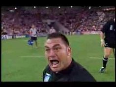 2003 World Cup, New Zealand vs. Tonga.. or really, in this case, Ka Mate (haka) vs. Sipi Tau.  Totally worth watching.