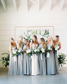 Wonderful Perfect Wedding Dress For The Bride Ideas. Ineffable Perfect Wedding Dress For The Bride Ideas. Slate Blue Bridesmaid Dresses, Azazie Bridesmaid Dresses, Brides And Bridesmaids, Bridesmaid Bouquets, Bridal Bouquets, Stunning Wedding Dresses, Princess Wedding Dresses, Wedding Dress Styles, Wedding Gowns