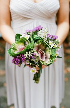 Bridesmaid Bouquet with Cabbage. Totally want to carry a bouquet some day that includes some beautiful vegetables!