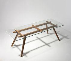 Alejandro Sticotti Glass Dining Table - (Oak and Walnut) Glass Top Dining Table, Glass Desk, Wood Glass, Dining Table Chairs, Tables, Timber Table, Wood Table, Metal Furniture, Cool Furniture
