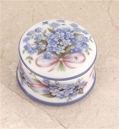BLue Forget Me Not German Porcelain Trinket Box The Cottage Shop