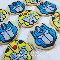 I was making Transformers cookies! This is Bumblebee and Optimus Prime. Transformers Cupcakes, Transformers Birthday Parties, 6th Birthday Parties, Optimus Prime Transformers, Transformer Birthday, Cookie Time, Bee Theme, Iced Cookies, Birthday Cookies