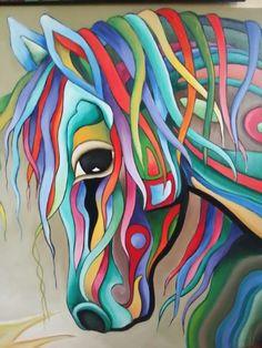 Colorful Paintings, Cool Paintings, Pop Art, Horse Quilt, Verre Design, Rainbow Art, Hippie Art, Arte Pop, Tile Art