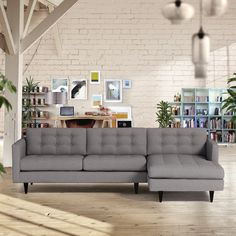 """Totally hip and mod, the Beverly Collection is a fantastically stylish, contemporary take on a classic design. The button tufted cushioning coupled with deco wooden legs give this well constructed set a lot of mid century modern look. 112""""w x 65""""d x 34""""h (Sofa Portion 38""""d) NOTE: This item can be upholstered in any fabric from the selections below! Each piece is expertly handmade to order in the USA and takes around 2-3 weeks in production. Features a solid hardwood frame and upholstered in…"""