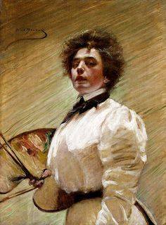 Alice Pike Barney Self-Portrait with Palette ca. 1906 oil on canvas Smithsonian American Art Museum, Gift of Laura Dreyfus Barney and Natalie Clifford Barney in memory of their mother, Alice Pike Ba Woman Painting, Painting & Drawing, Encaustic Painting, Natalie Clifford Barney, Selfies, Alice, Mary Cassatt, High Society, Henri Matisse