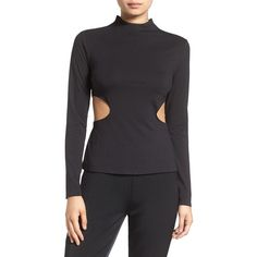 Women's Kendall + Kylie Side Cutout Mock Neck Tee (130 CAD) ❤ liked on Polyvore featuring tops, t-shirts, black, mock neck t shirt, stretch t shirt, stretchy tops, side cut t shirt and longsleeve t shirts
