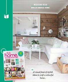 Weekend Read: A Peek Inside Mollie Makes Home.  Love the wooden planks on the wall in this picture