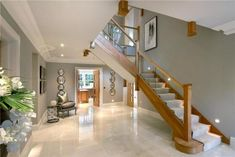 Unusual Contemporary Living Room Stairs Ideas For You 05 Stairs In Living Room, House Stairs, House Designs Ireland, Oak Frame House, Self Build Houses, Bungalow Renovation, Hallway Designs, Interior Stairs, Hall Interior