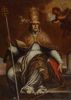 San Gregorio Magno. Atributos: ornamentos pontificales y cruz de tres travesaños. Tb la paloma, el libro abierto y maqueta de una iglesia.
