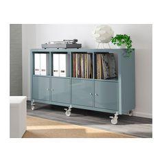 KALLAX Shelf unit on casters with 4 doors, high-gloss gray-turquoise high-gloss gray-turquoise 57 7/8x35