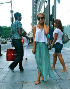 pleated maxi skirt and white tee