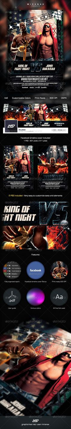 Free Fight Night Boxing Sports Flyer Template | Curro | Pinterest
