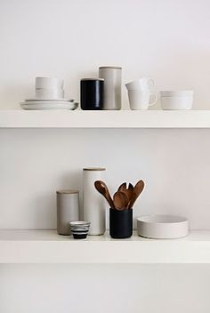 clean lines - white + naturals + touch of wood