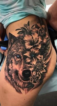 40 Wolf Tattoos Pictures for Inspiration - Pictures and Tattoos tatoo feminina, tatoo feminina delic Animal Tattoos For Women, Cute Tattoos For Women, Hip Tattoos Women, Sexy Tattoos, Hip Thigh Tattoos, Flower Thigh Tattoos, Tattoo For My Son, Image Blog, Wolf Tattoos