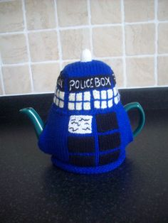 Knitted Tea Cosy Cozy Cosie Tardis Dr who Shabby by rosiecosie, £14.99