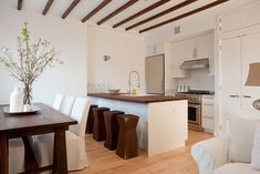 pictures of kitchens with ikea wood countertops   , wood beams, white, shaker, kitchen cabinets, marble, countertops ...