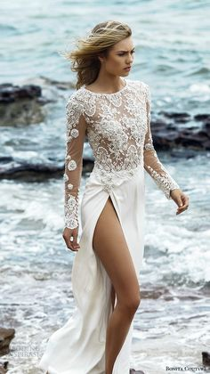 bonita couture 2015 wedding dresses sheer illusion embroidered long sleeves jewel neckline crystal embroidery bodice high split gorgeous dress crystal  #weddings #weddinggown #weddingdress