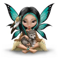 This artist's first-ever fairy and wolf figurine expresses the quest to know the wolf's spiritual power. Hand-painted details, real feather accents.