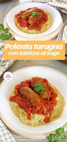 La Polenta taragna con #salsicce al #sugo è uno squisito e sostanzioso secondo piatto, un piatto unico davvero irresistibile e nutriente, perfetto per qualsiasi stagione dell'anno.  #secondopiatto #piattounico #ricetta #polenta #gialloblog #giallozafferano #sausages #food #foodie #italianfood Polenta, Tandoori Chicken, Foodie, Sausages, Ethnic Recipes, Sausage