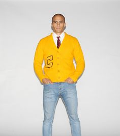 1950s Vintage Bright Yellow Wool Varsity Letterman Cardigan