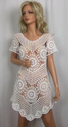 bags bikini blanket blouses c Crochet Cover Up, Crochet For Kids, Crochet Top, Blanket Crochet, Crochet Cardigan, Crochet Designs, Crochet Patterns, Diy Crafts Crochet, Ribbon Design