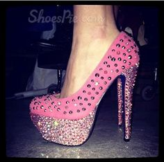 Gorgeous #Rose Coppy Leather #Rhinestone Decoration High #Heel #Shoes