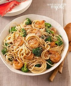 Spaghetti aux crevettes, à l'ail et au brocoli #recette