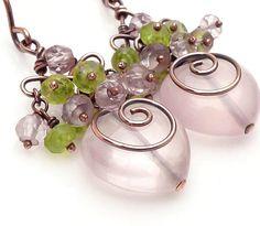 Pink heart earrings rose quartz earrings by CreativityJewellery, $60.00