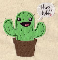 Embroidery Designs at Urban Threads - Huggable Cactus (Applique)  Would make a cute pillow