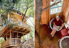 """O empreiteiro Jay Hewitt foi, provavelmente, uma criança bastante ambiciosa. Não contente com a casa na árvore que teve no passado, ele criou um projeto que ultrapassa o imaginário de qualquer pessoa. """"Eu tive uma casa na árvore quando eu era criança, mas era basicamente uma folha de madeira compensada de 4x8"""". Foi então que, após o incentivo de seu filho e assistir a todos os episódios do programa Treehouse Masters, ele decidiu criar uma casa na árvore para seus netos: """"Na época, eu disse…"""