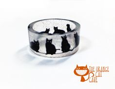 Cat Glitter Ring Hand Made Resin Black Cat Clear Ring by TheOrangeCatCave on Etsy