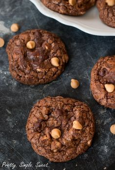 super fudgy and thick semisweet chocolate cookies with a shiny crackly shell, filled with peanut butter chips